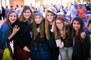 Abbie (third from left) with her friends at National Yarchei Kallah.
